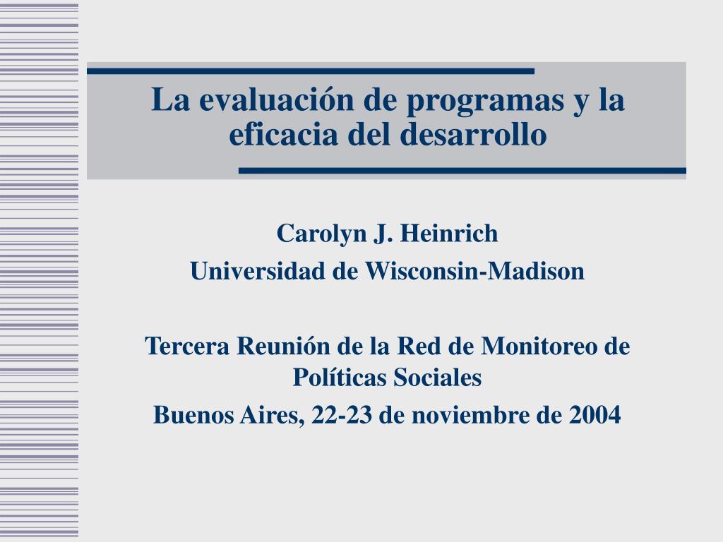 la evaluaci n de programas y la eficacia del desarrollo l.