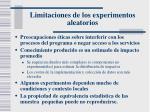 limitaciones de los experimentos aleatorios