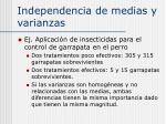 independencia de medias y varianzas12