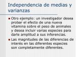 independencia de medias y varianzas13