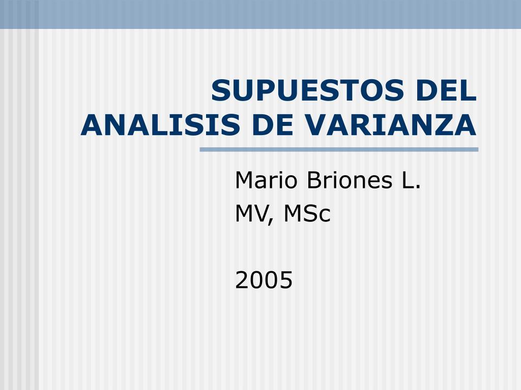 supuestos del analisis de varianza l.