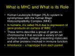 what is mhc and what is its role
