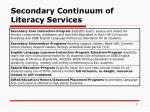 secondary continuum of literacy services