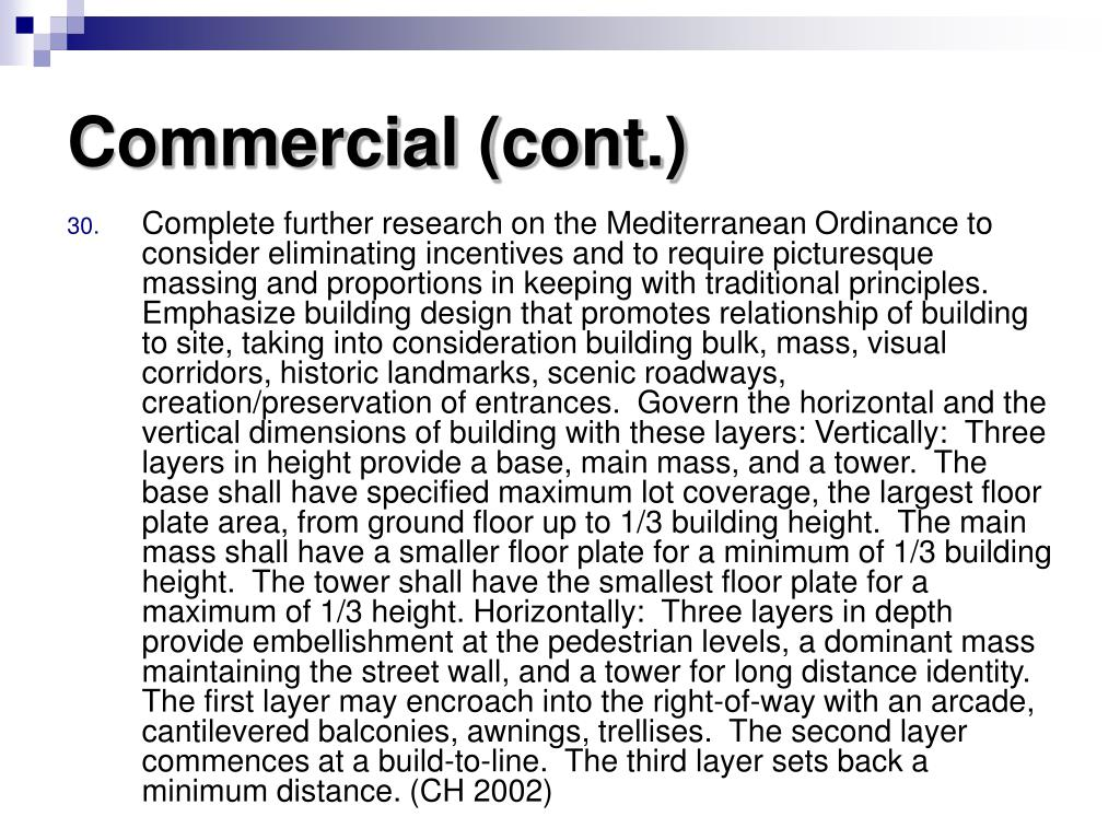Commercial (cont.)