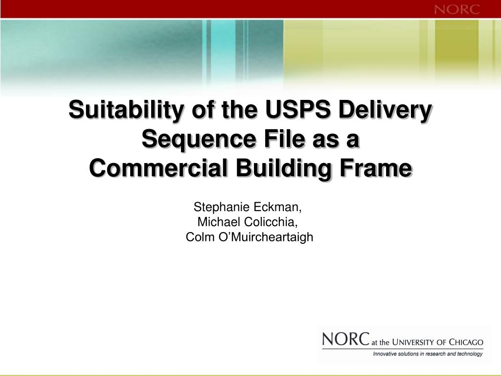 suitability of the usps delivery sequence file as a commercial building frame l.