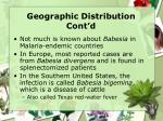 geographic distribution cont d