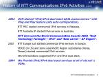 history of ntt communications ipv6 activities cont