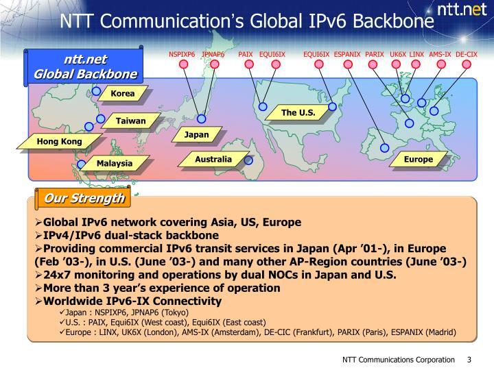 Ntt communication s global ipv6 backbone