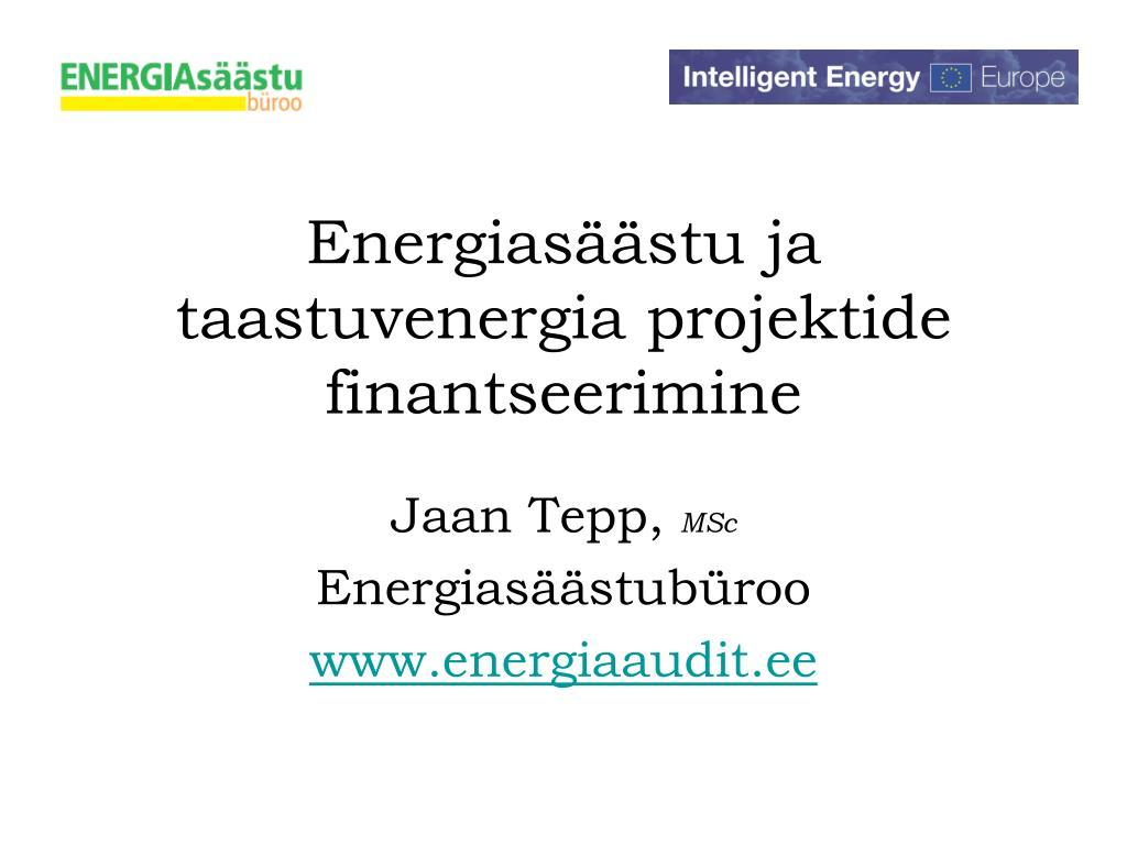 energias stu ja taastuvenergia projektide finantseerimine l.