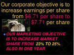 our corporate objective is to increase earnings per share from 6 71 per share to 7 71 per share