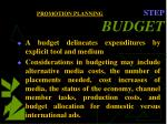 promotion planning step budget