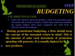 promotion planning step budgeting