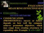 promotion planning step evaluation measuring effectiveness