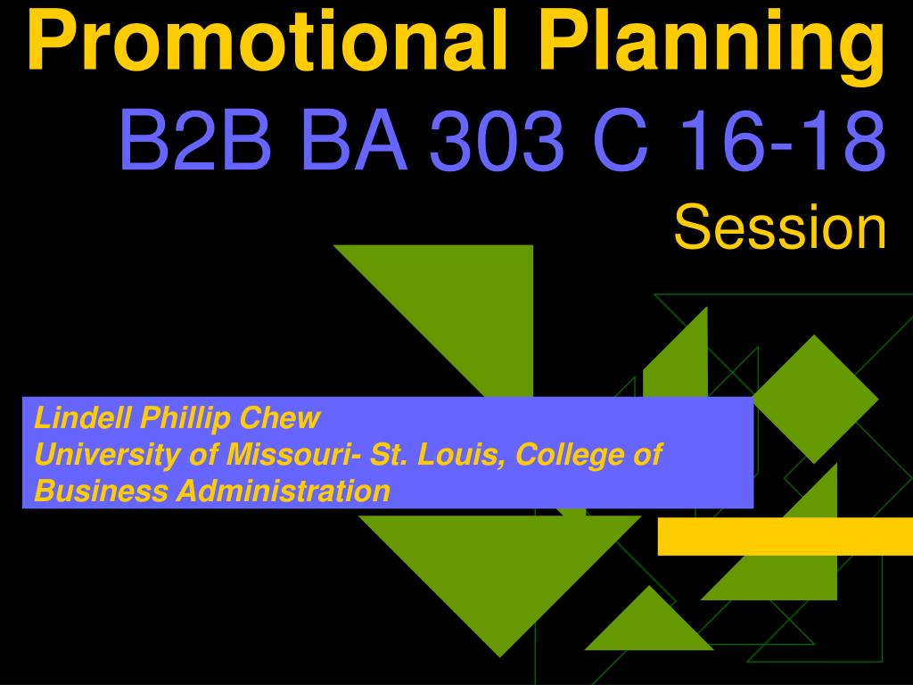 promotional planning b2b ba 303 c 16 18 session l.