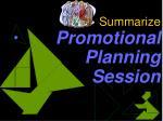 summarize promotional planning session