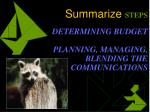 summarize steps determining budget planning managing blending the communications