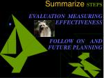 summarize steps evaluation measuring effectiveness follow on and future planning