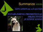 summarize steps situational analysis establishing prom0tional objectives justificatons
