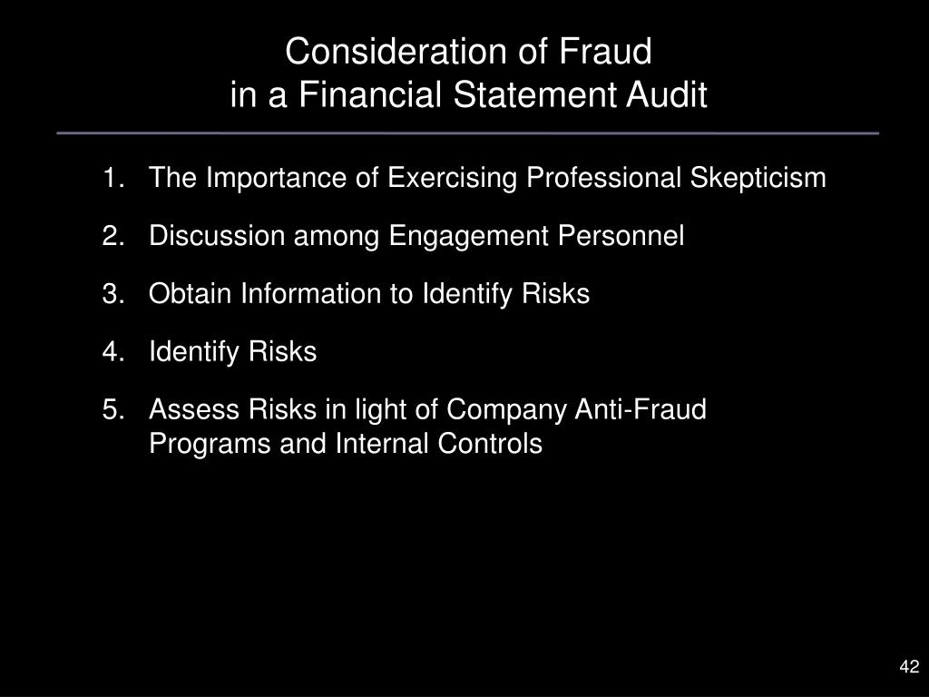Consideration of Fraud