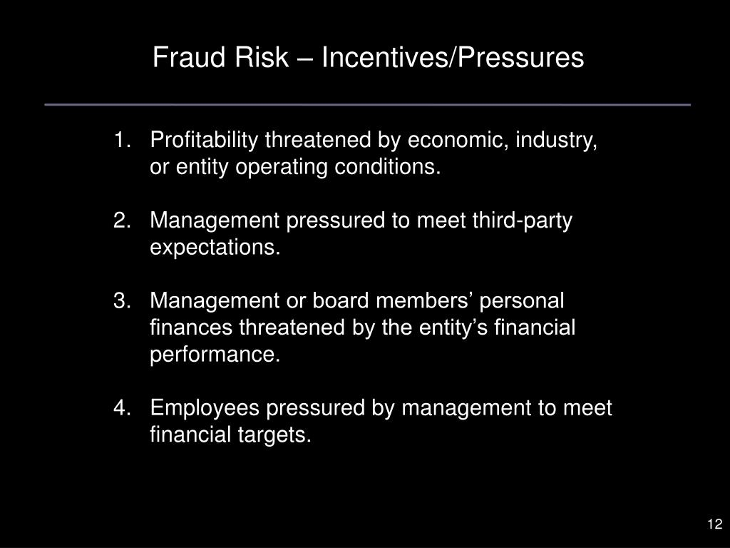 Fraud Risk – Incentives/Pressures