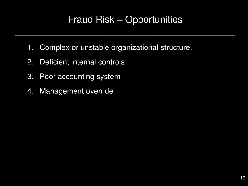 Fraud Risk – Opportunities