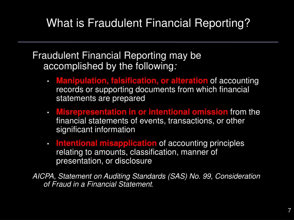 What is Fraudulent Financial Reporting?