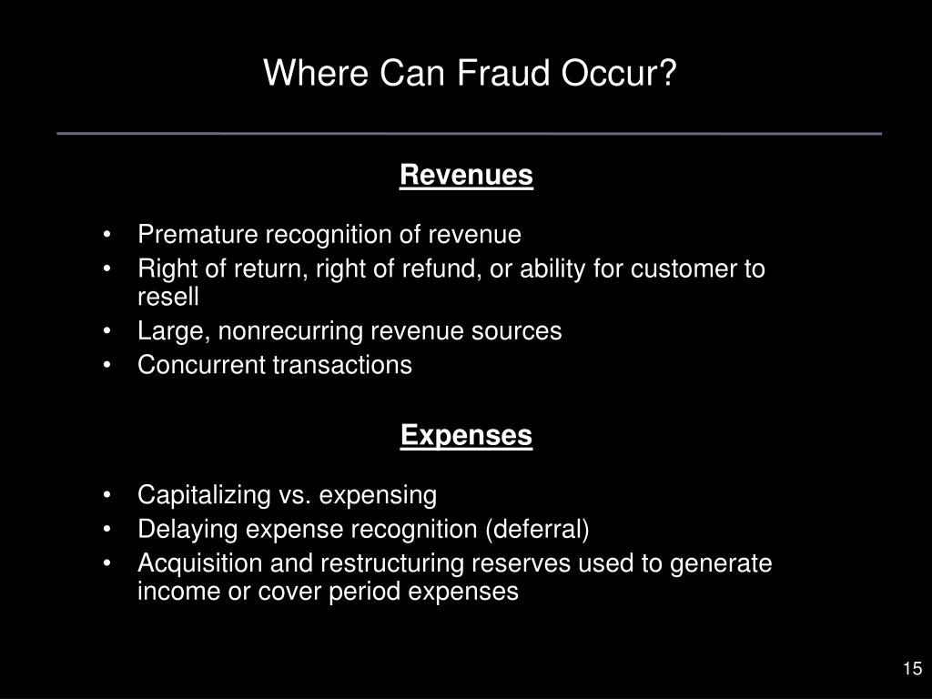 Where Can Fraud Occur?