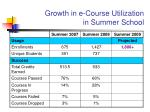 growth in e course utilization in summer school