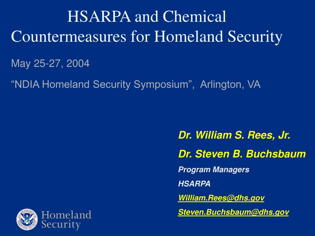 hsarpa and chemical countermeasures for homeland security l.