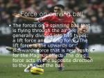 force on curving ball