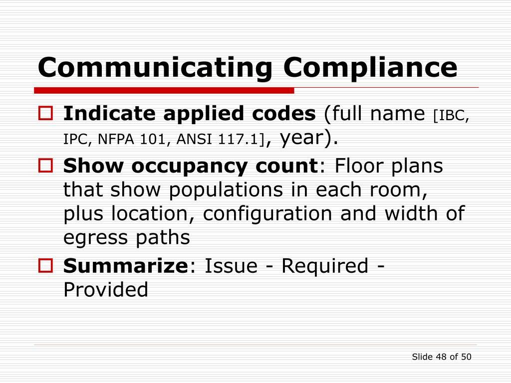 Communicating Compliance