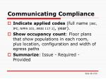 communicating compliance