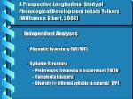 a prospective longitudinal study of phonological development in late talkers williams elbert 2003