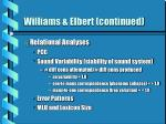 williams elbert continued
