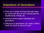 importance of generations