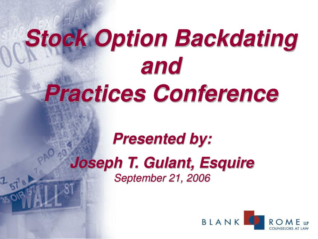 stock option backdating and practices conference l.
