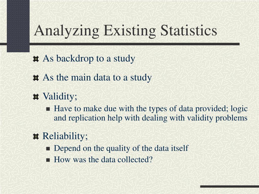 Analyzing Existing Statistics