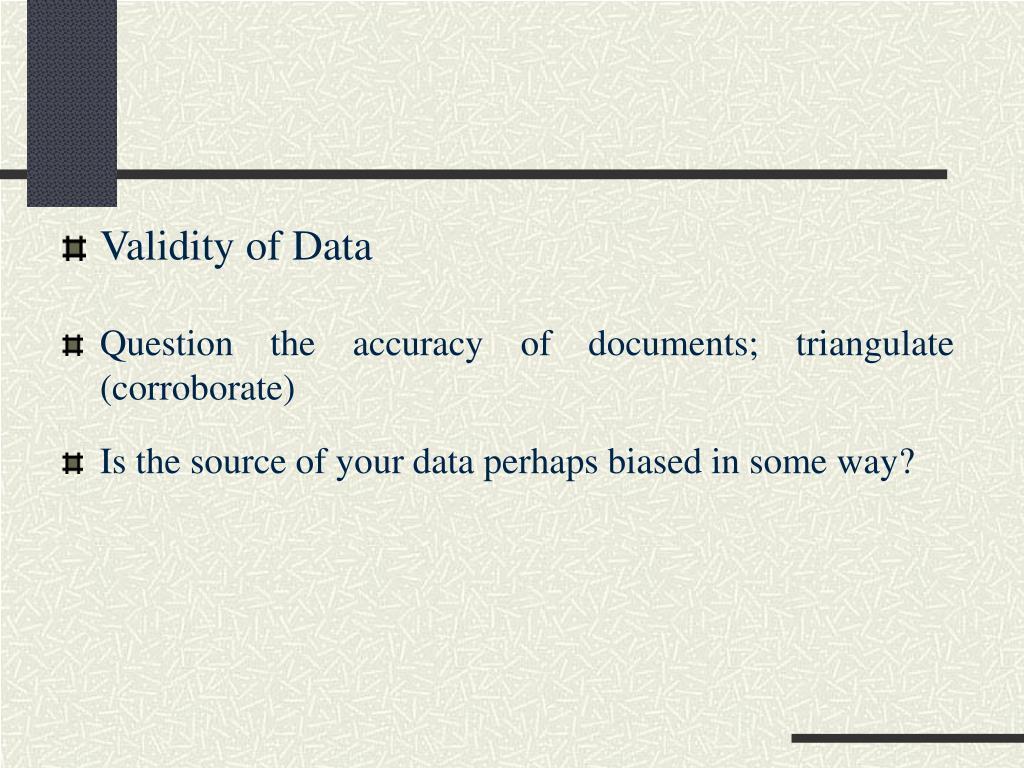 Validity of Data
