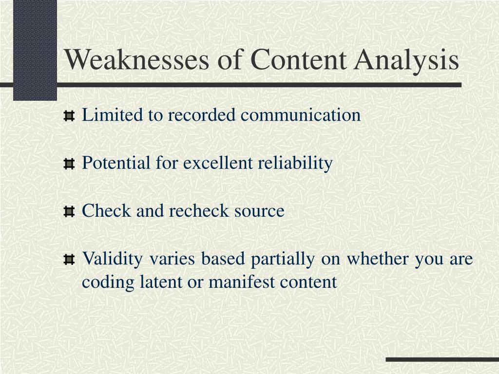 Weaknesses of Content Analysis