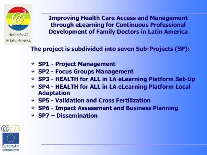 Improving Health Care Access and Management through eLearning for Continuous Professional Developmen...