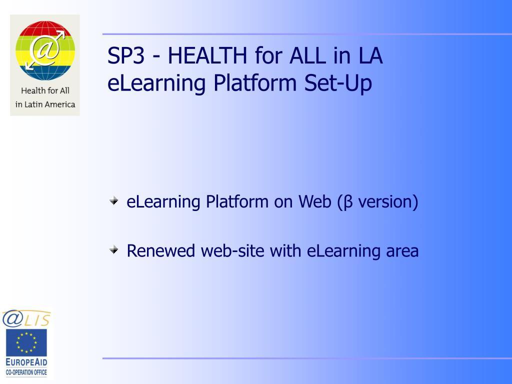 SP3 - HEALTH for ALL in LA eLearning Platform Set-Up