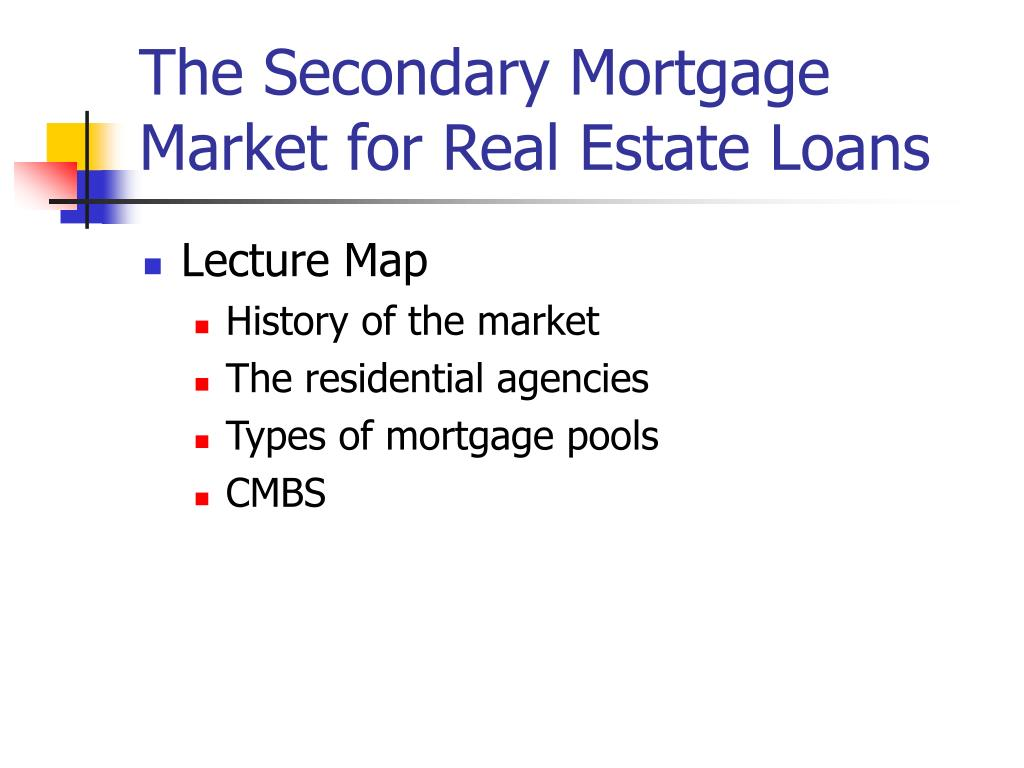 the secondary mortgage market for real estate loans l.