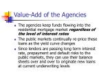value add of the agencies