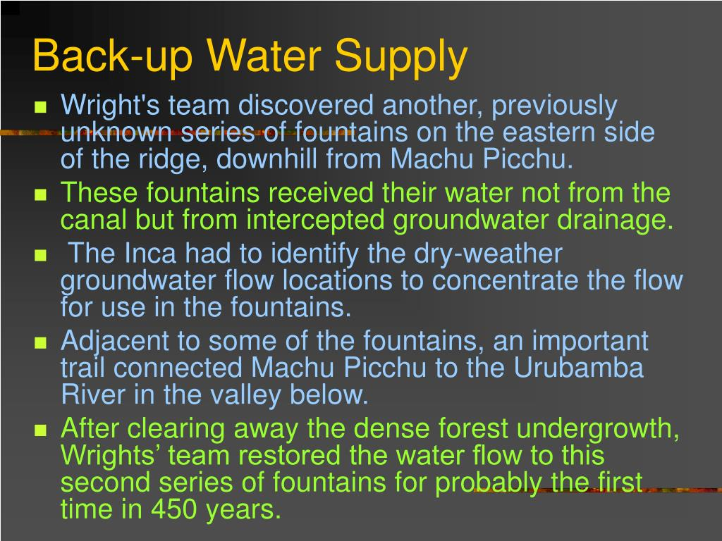 Back-up Water Supply