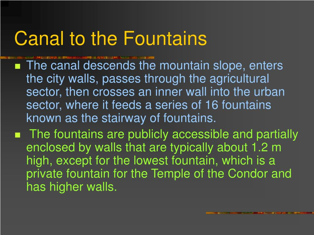 Canal to the Fountains