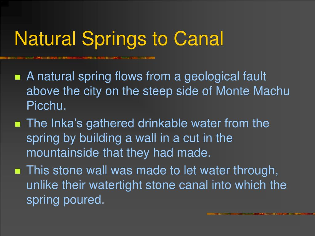 Natural Springs to Canal