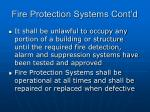 fire protection systems cont d