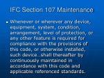 ifc section 107 maintenance