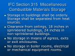ifc section 315 miscellaneous combustible materials storage