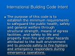 international building code intent